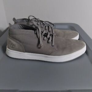 Timberland Davis Square Men's Size 12 Shoes Gray/White Chukka Mid Top Sneakers
