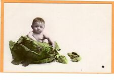 Surreal Real Photo Exaggeration Photo RPPC - Baby in Cabbage #2 Photomontage