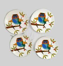 OWL PLATES 4 Signature Housewares Turq. Owl 2012 Metal Rack Stand Dessert