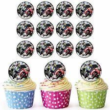 Moto GP 30 Personalised Pre-Cut Edible Birthday Cupcake Toppers Motorbikes Men