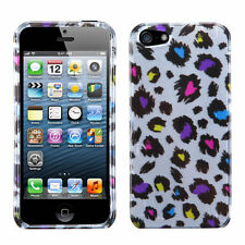 For iPhone 5 5S SE HARD Protector Case Phone Cover 2D Jagged Colorful Leopard