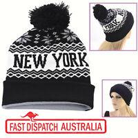 NEW Knitted Skiing Fishing Black Winter Pom Pom White New York Yankee Beanie Hat