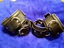 9 piece Padded Leather wrist & ankle collar and thigh cuffs restraint set