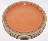 """LOVELY SET OF 4 DENBY ENGLAND DUETS SAGE & PAPRIKA 10 3/8"""" DINNER PLATES"""