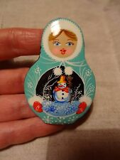 New listing Russian Lacquer Hand Painted Snow Maiden with Snow Man Christmas Pin Brooch