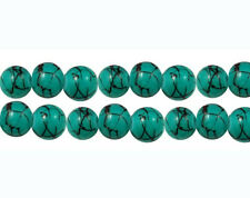 35 Turquoise Glass Beads with Black Veins 6mm - Bd172