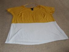 H&M colour block t shirt - golden yellow and off white colours - size S