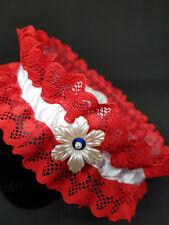 Giarrettiera sposa matrimonio bridal garter ROSSO BLU handmade pizzo lace raso