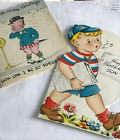 Vintage Hallmark Happy Birthday Son 40's 50's Made In Usa Funny Belated Boy Man