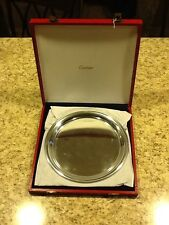 "VINTAGE CARTIER POLISHED PEWTER 11"" SERVING TRAY PLATE & PRESENTATION BOX SLEEVE"