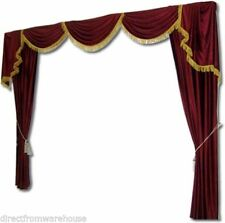 Saaria Home Theater Velvet Curtains Drapes Backdrop 10'W X 8'H  ST-1 Burgundy-01
