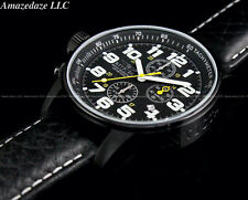 INVICTA Men's 46mm I Force Lefty Chronograph COMBAT BLACK Leather Strap SS Watch