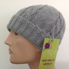 HAND KNITTED  MEN GREY  ARAN WOOL-ALPACA  CABLED   PANEL BEANIE  HAT