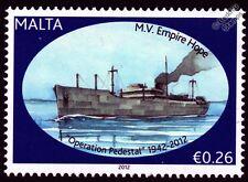 MV empire espère CARGO PAQUEBOT NAVIRE WWII convois de malte (fonctionnement piédestal) Cachet