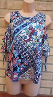 TU BLUE FLORAL RED WHITE FLORAL BARDOT CUT OUT SHORT SLEEVE BLOUSE TOP 10 S