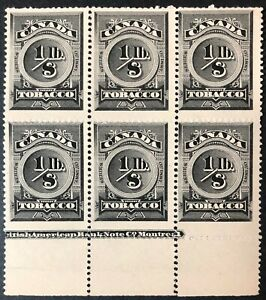 CANADA - 1887 # RN2 MANUFACTURED TOBACCO - SERIES '1887' - BLOCK OF 6 -MNG