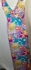 NWT Jaclyn Smith Dress Small blue green pink Empire Stretch SunMaxi Boho Paisley