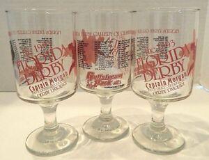Vintage 1993 Florida Derby Pedestal Drinking Glasses CAPTAIN MORGAN RUM Set of 3