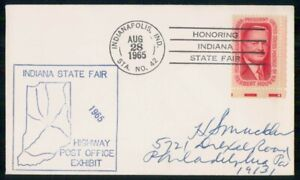 Mayfairstamps US 1965 Hervert Hoover IN State Fair HPO Exhibit Cover wwm_24359