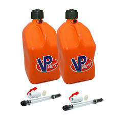 2 Pack VP Racing Orange 5 Gallon Square Fuel Jug/2 Shut Off Hoses/Water/Gas Can