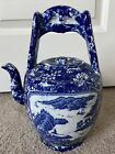 Antique Chinese Blue & White Rare Porcelain Large Teapot Pottery China Marked