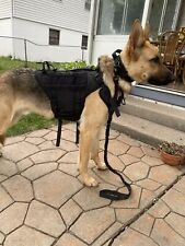 Tactical Military Molle Dog Vest And Collar With Handle Plus Bungee Leash Black