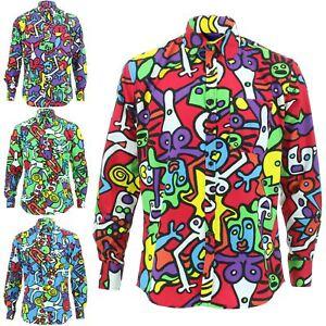 Mens Shirt Loud Originals Cotton TAILORED FIT Long Sleeve TIFFY PRINT Retro
