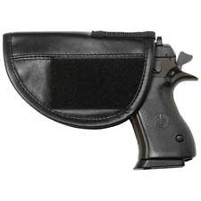 NEW Solid Black Leather Pistol Soft Case Gun Storage Pouch Concealed Velcro Hook