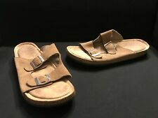 Faded Glory Womens Size 11 Brown Suede Leather Sandals Memory Foam Open Toe