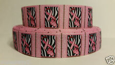 Grosgrain Ribbon, Breast Cancer Awareness, Hope For A Cure, Ribbon on Zebra,
