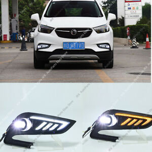 Daytime Running Lamps + LED Fog Lights w/ Turn Signal For Buick Encore 2016-2019