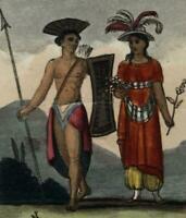 Molucco Isles Maluku natives spear Pacific isles 1820 Fashion Illustration print