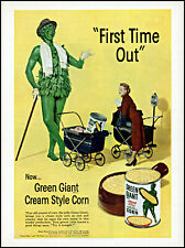 1952 Jolly Green Giant Corn mom baby carriages can vintage art print ad ads57