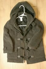 Janie and Jack boys gray hooded wool toggle coat size 4-5 Guc