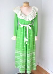 Vtg 70s lime green maxi festival dress white ruffle floral embroidered Hawaii S