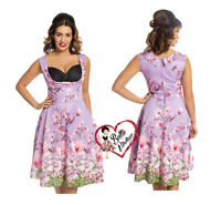 Lindy Bop Womens Ophelia Lilac Dragonfly Rockabilly 50s Pink Floral Swing Dress