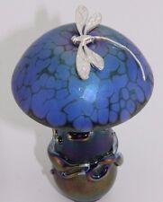 NEO ART GLASS Fatto A Mano Blu Lustro Fungo Argento Sterling Libellula, K. Heaton