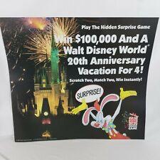 Vtg 1992 Roger Rabbit Walt Disney World Burger King Translite Menu Display 25x27