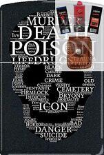Zippo CM1312 Death Skull Of Words Lighter + FUEL FLINT WICK POUCH GIFT SET
