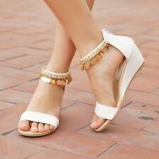 Women Summer Buckle Casual Peep Toe Ankle Strap Sandals Wedge Heel Shoes 34-43 B
