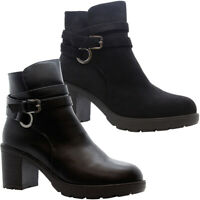 Ladies Block Chunky Heels Ankle Chelsea Boots Womens Buckle Grip Sole Shoes Size