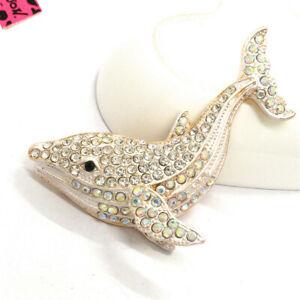 Hot White Enamel Cute Whale Crystal Animal Betsey Johnson Charm Brooch Pin