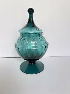 Vtg MCM Teal Blue Empoli Italy Art Glass Circus Tent Apothecary Candy Jar Lid HA