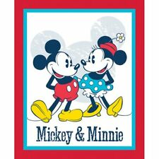 MICKEY MOUSE FABRIC PANEL DISNEY C63425 MICKEY & MINNIE VINTAGE FABRIC  BTP