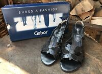 Womens Gabor Sandals Ladies Open Toe Sling Back Black Leather Shoes Size 5.5