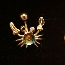 Jewellery, 18K, beautifuly designed  belly  pin in shape of Crab, 2 cm long !!