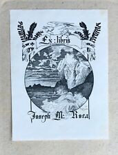 Ex libris of Joseph M. Roca by Alexandre De Riquer. Bookplate.  Catalan.