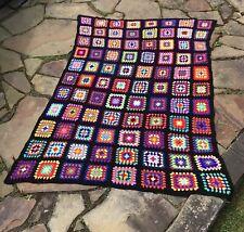 "VINTAGE Afghan Crochet Granny Square Blanket Handmade Throw Quilt 58"" X 88"" EUC"