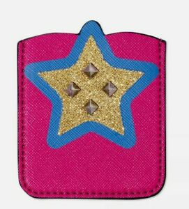 Pink/Blue/Gold Star Studded Phone Sticker Pocket Wallet Faux Leather