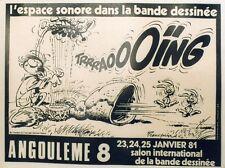 """""""8ème SALON de la BD ANGOULÊME 1981"""" Affiche originale entoilée FRANQUIN 57x44cm"""